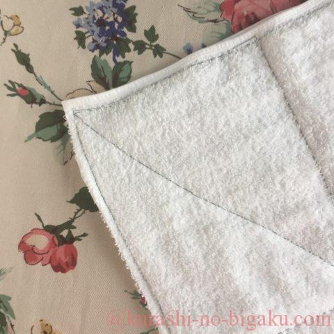 雑巾を縫ったところのアップ