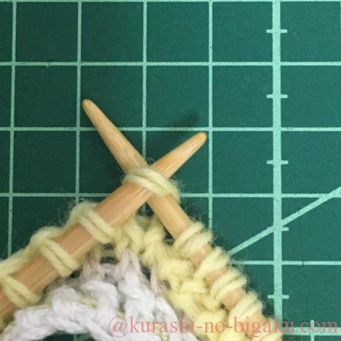 ゴム編みの作り目の表目