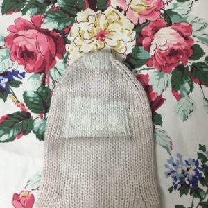 手編みの靴下の補修跡
