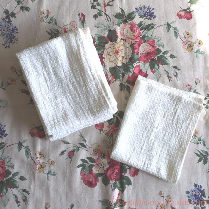 手作りしたリネンワッフルのタオル
