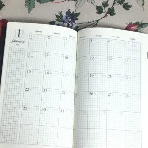 ディスカバーの手帳、月間スケジュールページ