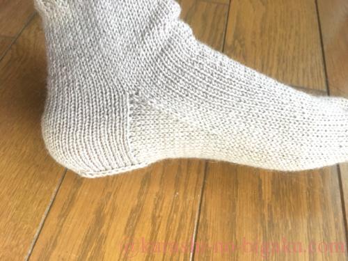 ヒールフラップ&ガセットの靴下を履いたところ