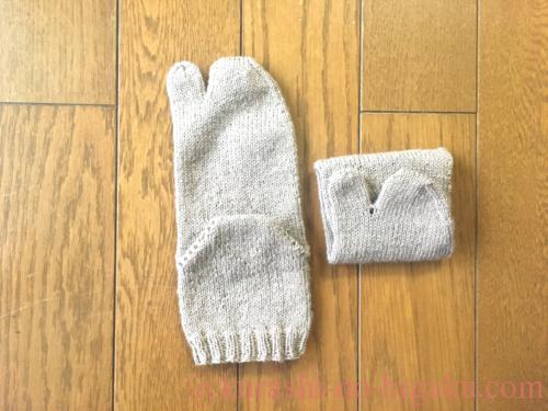 引き返し編みで編んだ靴下