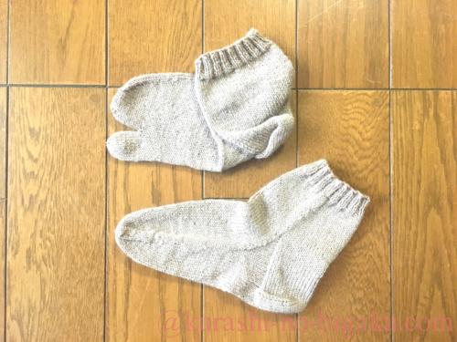 ヒールフラップ&ガセットで編んだ靴下
