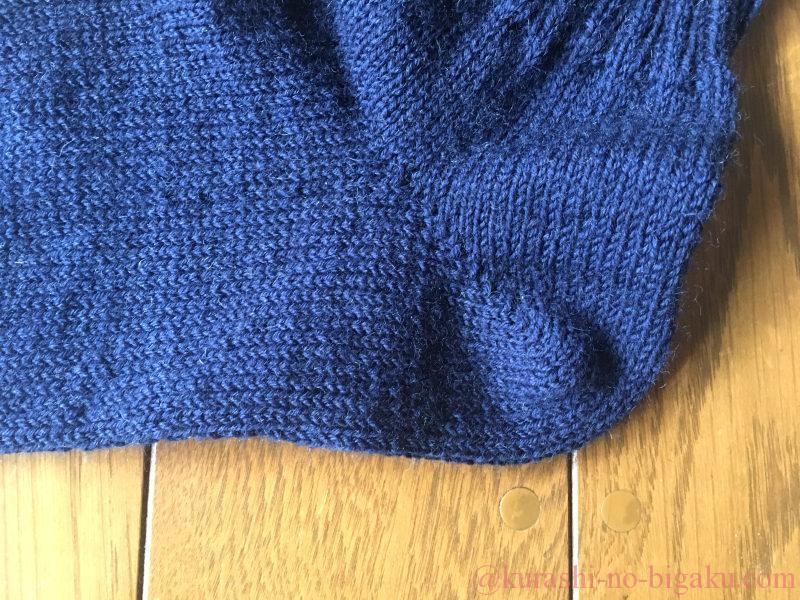 掛け目を使う引き返し編みを使ったかかと部分