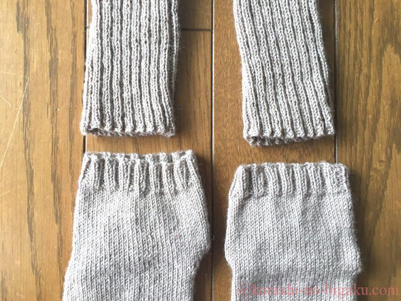 伸びてきた手編みの靴下の履き口