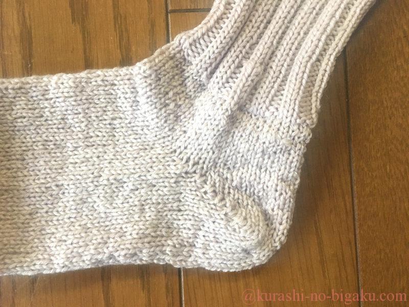掛け目を使った引き返し編みの靴下
